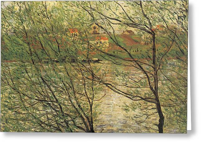 La Grande Jatte Greeting Cards - Banks of the Seine Island of La Grande Jatte Greeting Card by Claude Monet