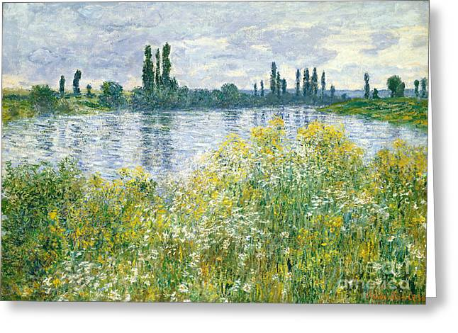 Yellow Reflections Greeting Cards - Banks of the Seine Vetheuil Greeting Card by Claude Monet