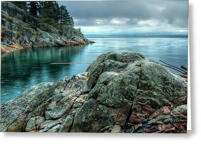 Ocean. Reflection Greeting Cards - Banks of West Vancouver Greeting Card by James Wheeler