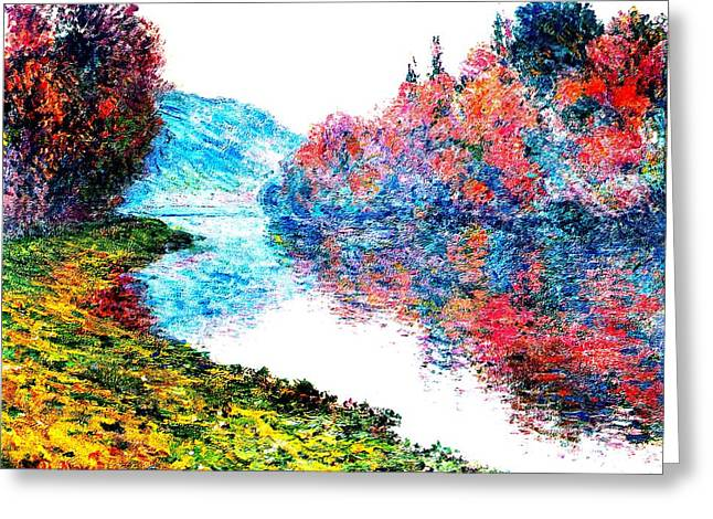 Fall River Scenes Mixed Media Greeting Cards - Banks Seine River at Jenfosse France Enhanced Greeting Card by Claude Monet - L Brown