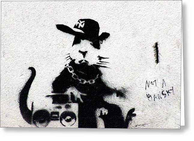 Hiphop Greeting Cards - Banksy Boombox  Greeting Card by A Rey