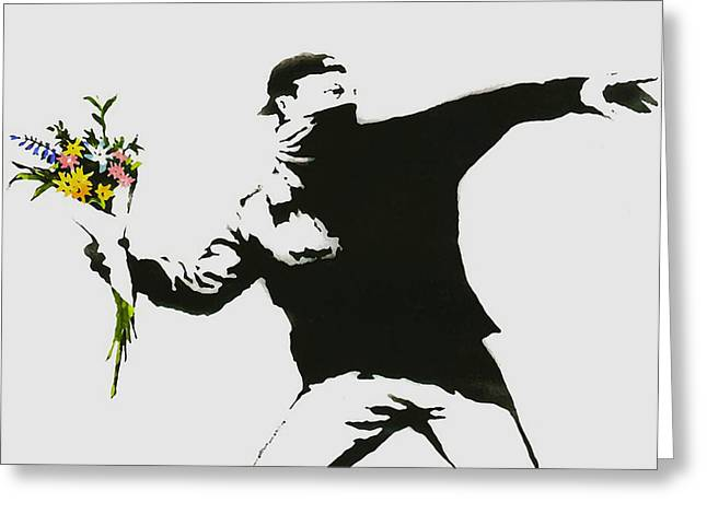 Flower Bombs Print Greeting Cards - Banksy Flower Thrower Greeting Card by Graffiti Street Art