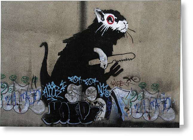 Undercover Greeting Cards - Banksy lockpick rat  Greeting Card by A Rey