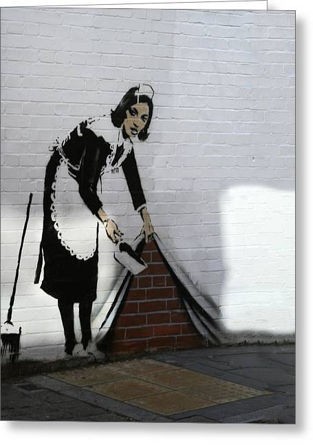 Banksy Maid Greeting Card by A Rey