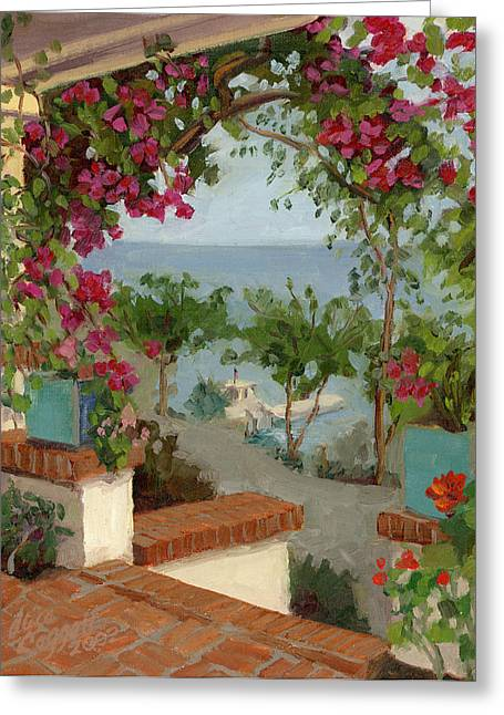 Trellis Paintings Greeting Cards - Banning House Bougainvillea Greeting Card by Alice Leggett