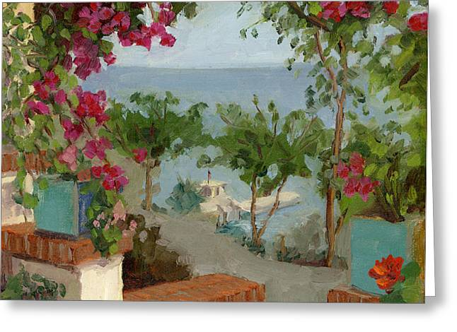 Banning House Bougainvillea Greeting Card by Alice Leggett