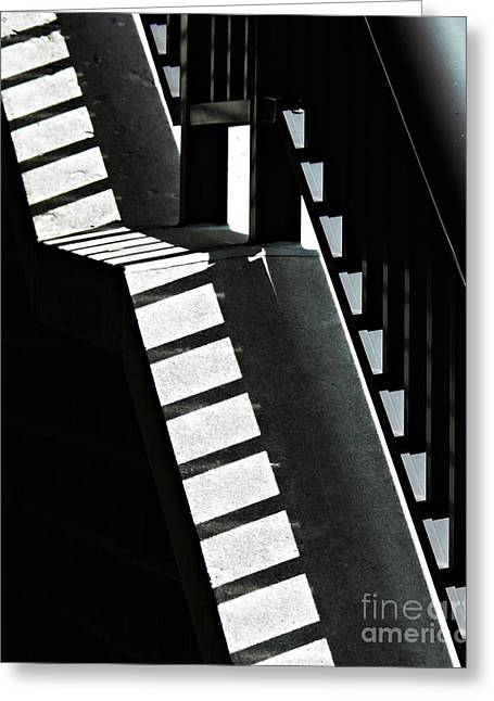 Geometric Design Greeting Cards - Bannister and Shadows Greeting Card by Sarah Loft