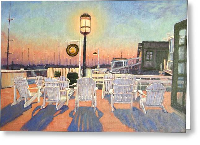 Bannister Paintings Greeting Cards - Bannisters Wharf Newport RI Greeting Card by Betty Ann Morris