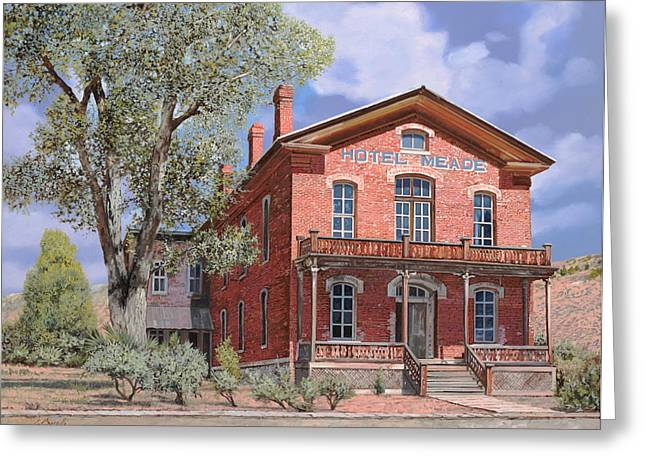 Ghost Town Greeting Cards - Bannock-Montana-hotel Meade Greeting Card by Guido Borelli
