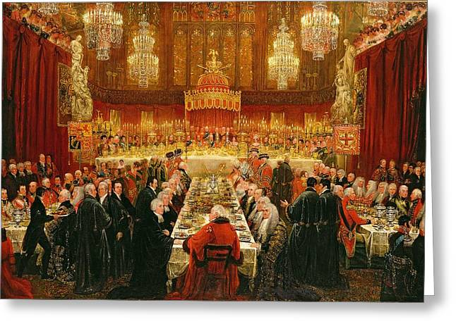Eating Greeting Cards - Banquet Given By The Corporation Of London To The Prince Regent, The Emperor Of Russia And The King Greeting Card by Luke Clennell