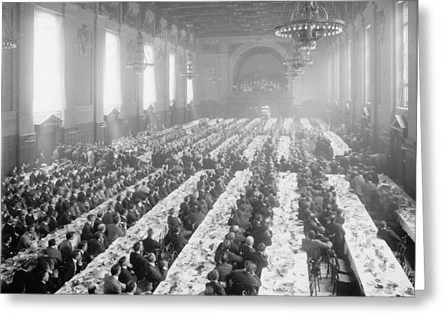 Student Photographs Greeting Cards - Banquet In Alumni Hall [i.e., University Commons], Yale College, Connecticut, C.1900-06 Bw Photo Greeting Card by Detroit Publishing Co.