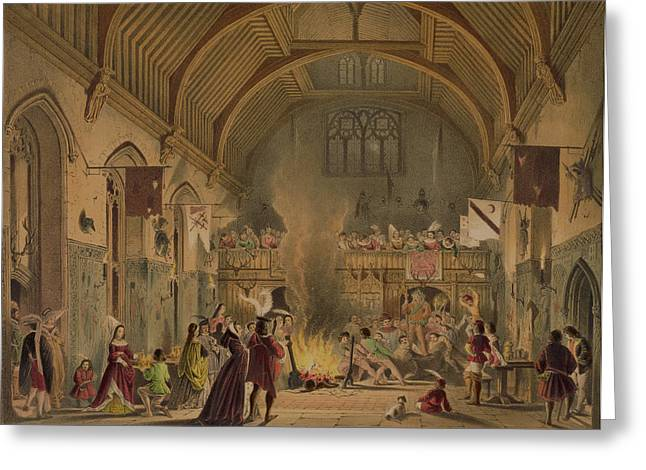 Medieval Greeting Cards - Banquet In The Baronial Hall, Penshurst Greeting Card by Joseph Nash