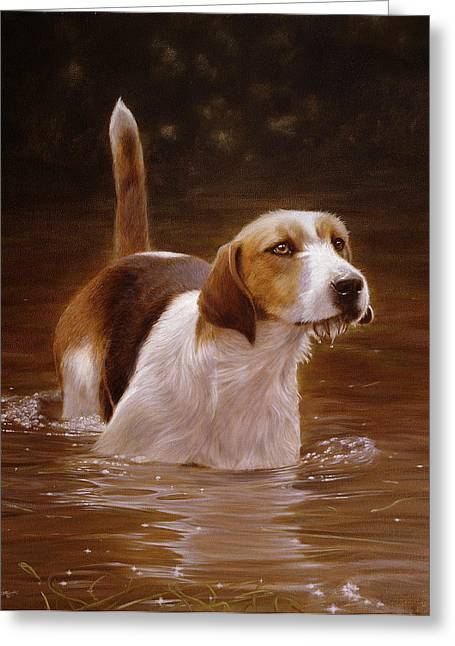 Recently Sold -  - Puppies Paintings Greeting Cards - Banquet Greeting Card by John Silver