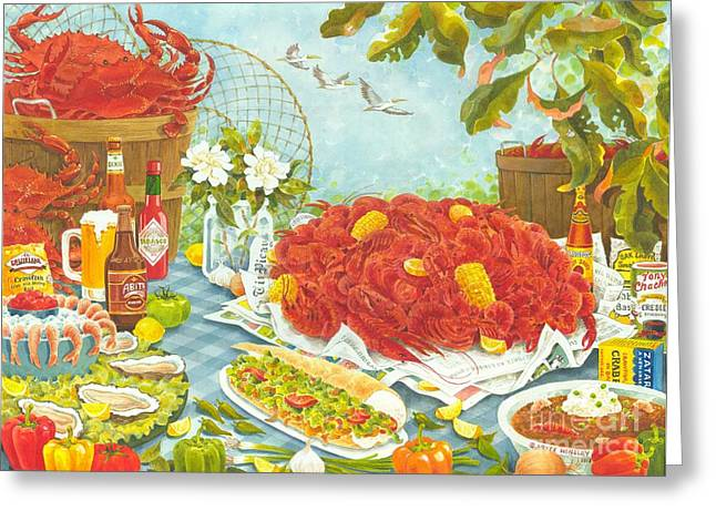 Crawfish Beer Greeting Cards - Banquet on the Bayou Greeting Card by Joyce Hensley