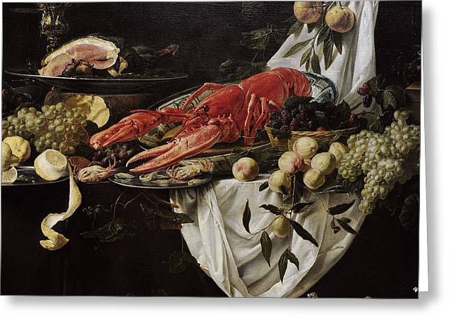 Lemon Art Greeting Cards - Banquet Still Life, 1644, By Adriaen Van Utrecht 1599-165152 Greeting Card by Bridgeman Images