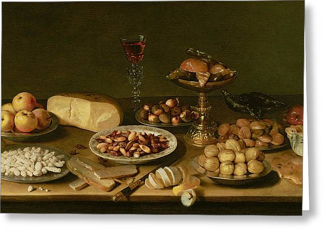 Almonds Greeting Cards - Banquet Still Life Greeting Card by Jacob Foppens van Es