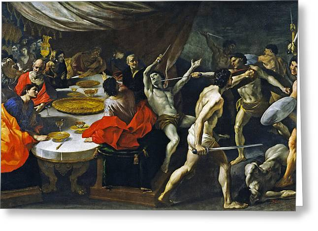 Banquet Greeting Cards - Banquet with a Gladiatorial Contest Greeting Card by Giovanni Lanfranco