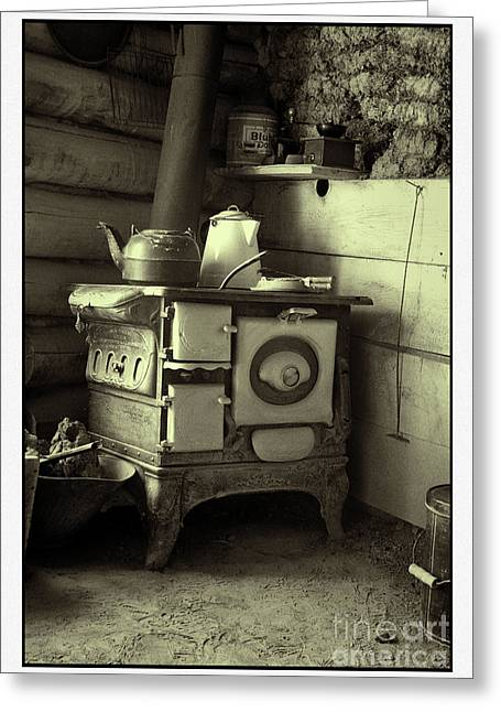 Banquet Wood Stove Greeting Card by Michael Greiner