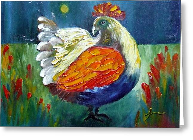 Pallet Knife Greeting Cards - Bantam Greeting Card by Janice Martin