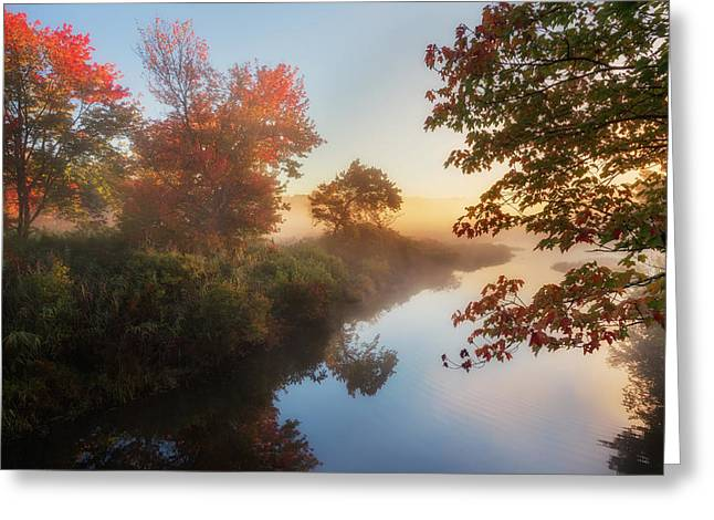 Ethereal Waterfalls Greeting Cards - Bantam River Sunrise Greeting Card by Bill  Wakeley