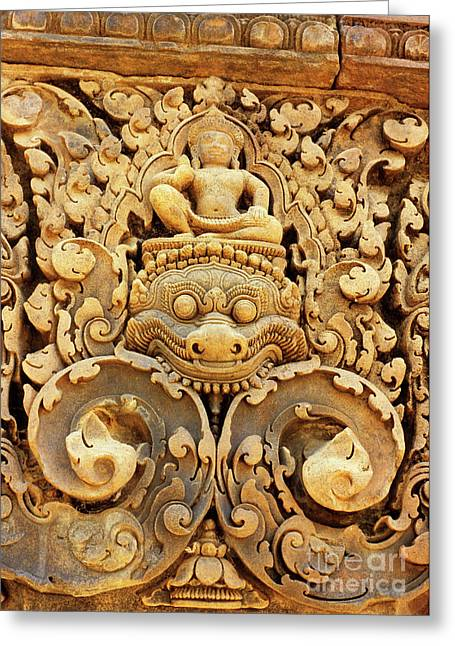 Southeast Asian Greeting Cards - Banteay Srei Carving 01 Greeting Card by Rick Piper Photography