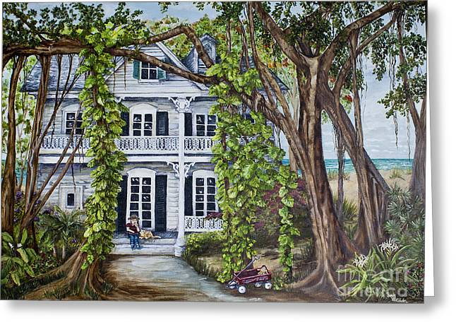 Banyan Beach House Greeting Card by Janis Lee Colon