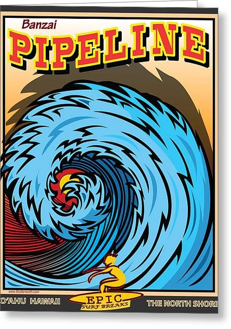 Rincon Digital Art Greeting Cards - Banzai Pipeline Hawaii Surfing Greeting Card by Larry Butterworth