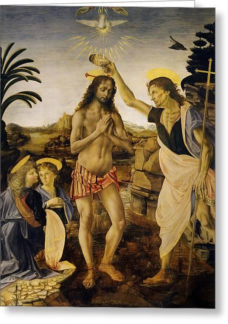 Religious Digital Greeting Cards - Baptism Of Christ Greeting Card by Leonardo da Vinci