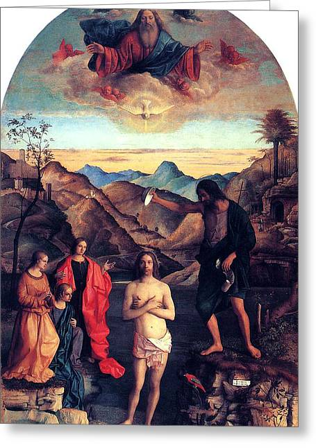 Religious Paintings Greeting Cards - Baptism of Christ with Saint John 1502 Giovanni Bellini Greeting Card by Karon Melillo DeVega
