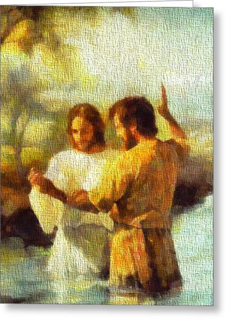 Baptize Greeting Cards - Baptism Of Jesus Greeting Card by Dan Sproul