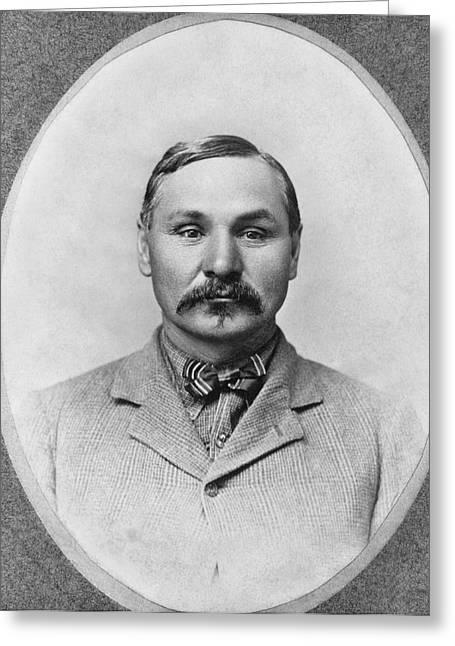 "Western Tie Greeting Cards - Baptiste ""Little Bat"" Garnier Greeting Card by Underwood Archives"
