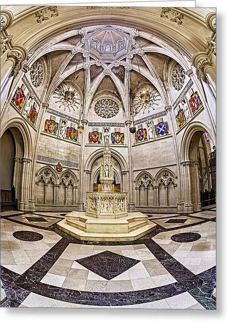 Morningside Heights Greeting Cards - Baptistry At Saint John The Divine Cathedral Greeting Card by Susan Candelario