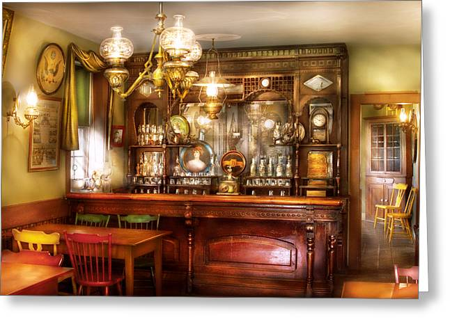 Table Wine Greeting Cards - Bar - Bar and Tavern Greeting Card by Mike Savad