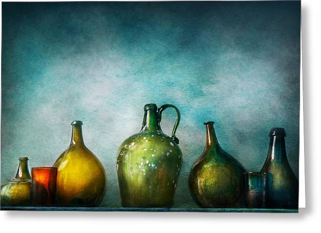 Big Wine Greeting Cards - Bar - Bottles - Green bottles  Greeting Card by Mike Savad