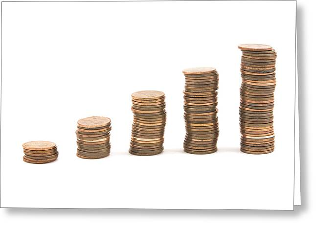 White Background Digital Art Greeting Cards - Bar Graph Made With Pennies Greeting Card by Keith Webber Jr
