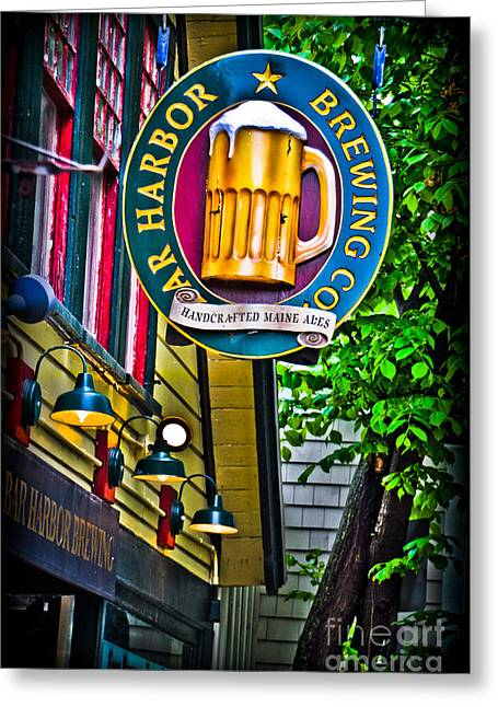 Old Maine Houses Greeting Cards - Bar Harbor Brewing Company Greeting Card by Gary Keesler