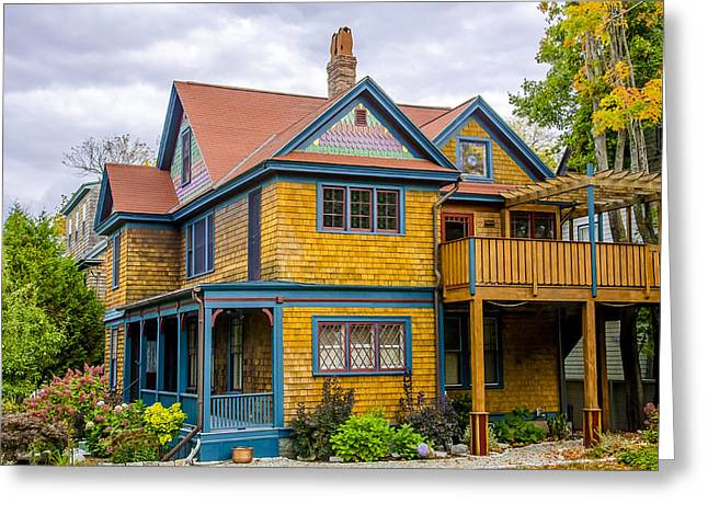 Old Maine Houses Greeting Cards - Bar Harbor Colors and Comfort Greeting Card by Julie Palencia