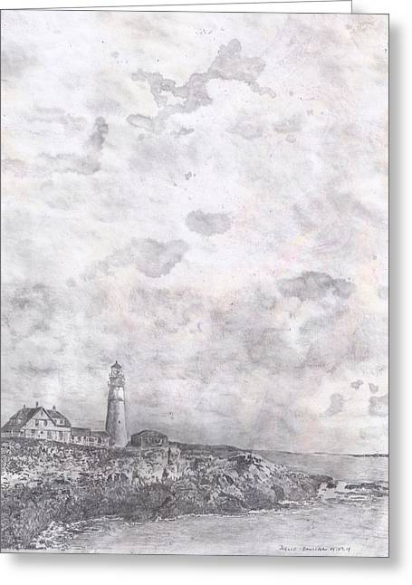 Maine Lighthouses Mixed Media Greeting Cards - Bar Harbor Greeting Card by Joelle Bhullar