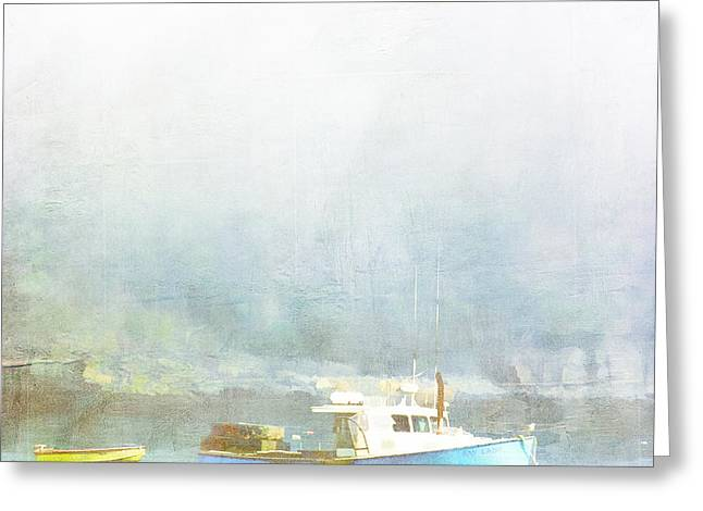 New England Ocean Digital Art Greeting Cards - Bar Harbor Maine Foggy Morning Greeting Card by Carol Leigh