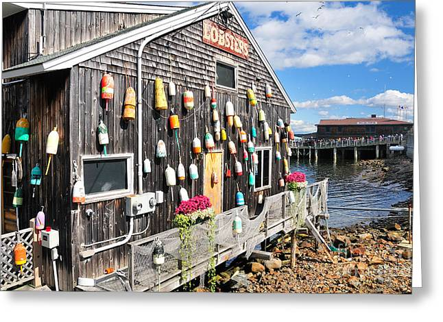 Lobster Buoy Greeting Cards - Bar Harbor Restaurant Greeting Card by Betty LaRue