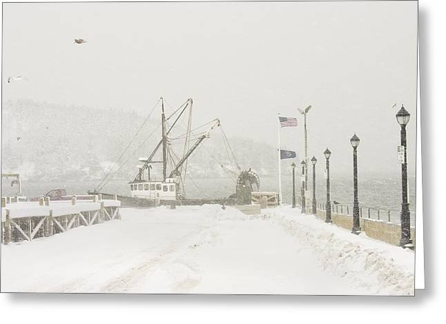 Bar Photographs Greeting Cards - Bar Harbor Snowstorm and Fishing Boat Mount Desert Island Maine Greeting Card by Keith Webber Jr