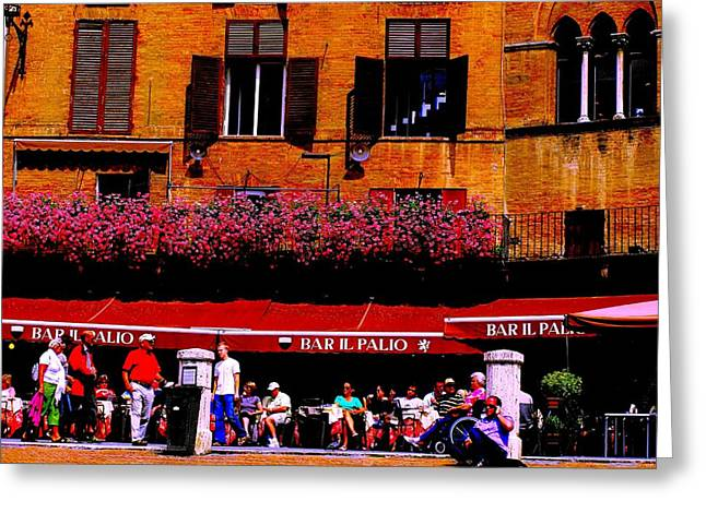 Sienna Italy Greeting Cards - Bar in Sienna Italy Greeting Card by Margaret Glenn