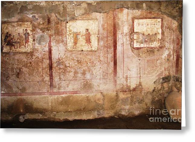 Italy Greeting Cards - Bar on the Via di Mercurio frescoes Greeting Card by Cimorene Photography