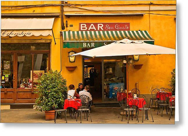 Lucca Greeting Cards - Bar San Giusto Greeting Card by Mick Burkey