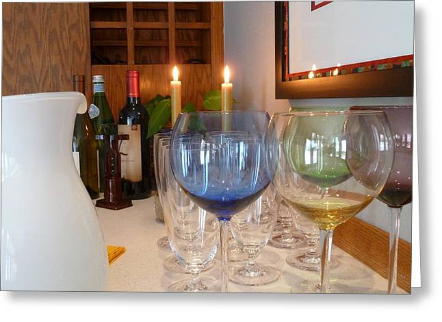Wine Holder Photographs Greeting Cards - Bar Setting 1 Greeting Card by Bruce E Dall