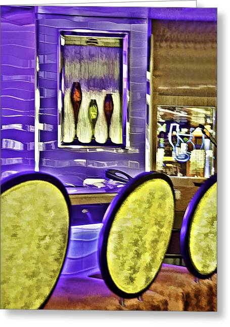 Party Invite Greeting Cards - Bar Stools Greeting Card by Maria Coulson