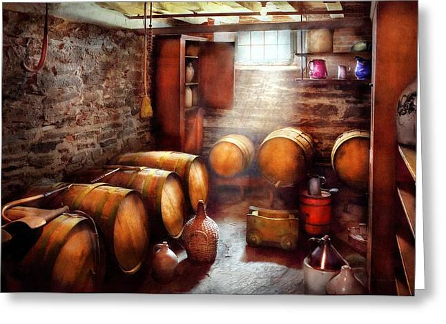 Steward Greeting Cards - Bar - Wine - The Wine Cellar  Greeting Card by Mike Savad