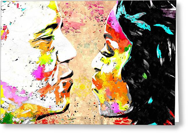 Barack and Michelle  Greeting Card by Daniel Janda