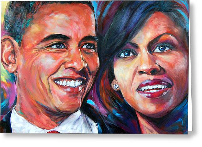 Michelle-obama Greeting Cards - Barack and Michelle Obama Greeting Card by Anju Saran