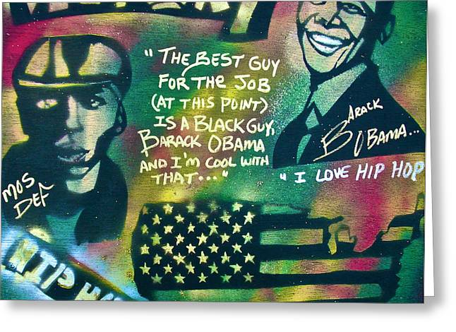 Michelle Obama Paintings Greeting Cards - Barack and MOS DEF Greeting Card by Tony B Conscious